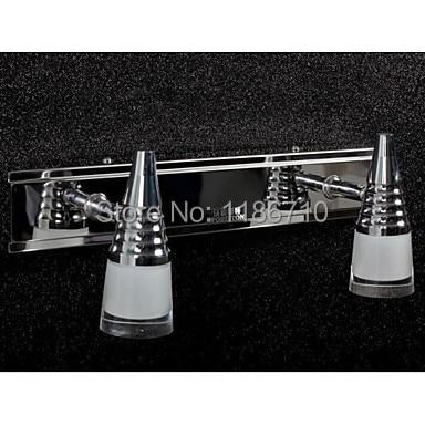 Wodiston Led lámpara de pared 2 lámpara cepillo de mano interruptor de inducción Simple artístico de acero inoxidable lámpara de pared de cristal envío gratis
