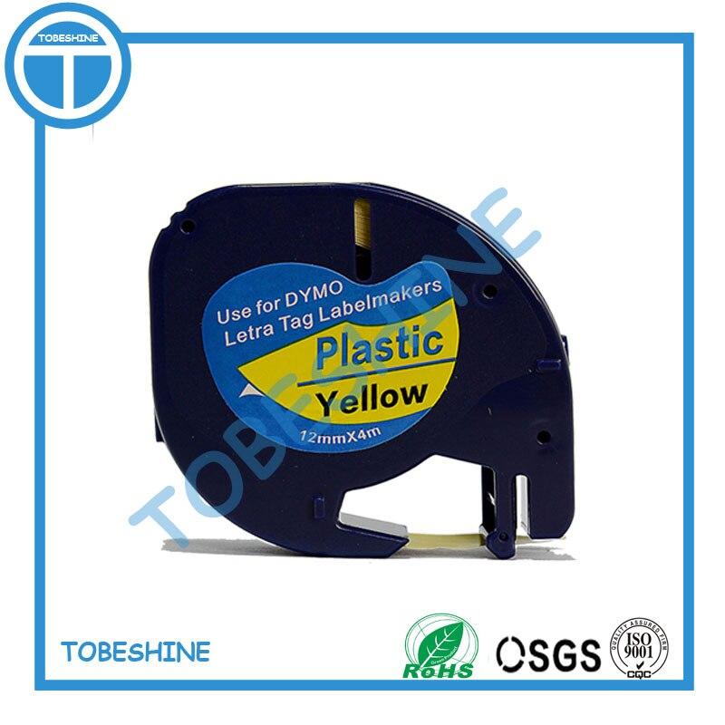 1PK DYMO LT 91202 dymo LetraTAG LT 91202 черная на желтой пластиковой этикетке