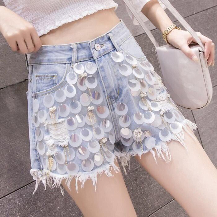 Moda de verano para mujer, pantalones cortos de mezclilla con brillos de pierna ancha con perlas de borla rasgada para mujer, pantalones con lentejuelas, pantalones cortos para mujer
