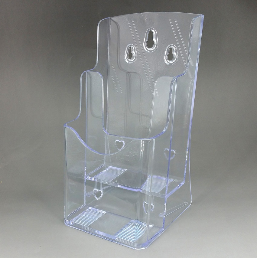 Clear A6 2 Tiers Acrylic Quality Plastic Brochure Literature Display Holder Stand To Insert Leaflet On Desktop 40pcs