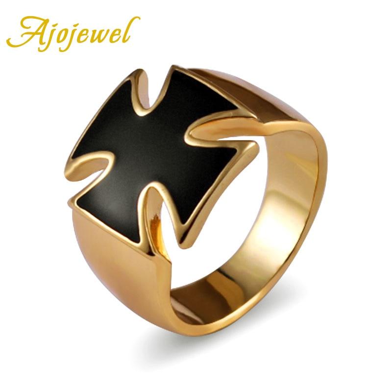 Ajojewel Brand #8-12.5 High Quality Gold-color Enamel Black Cross Men Ring Fashion Jewelry