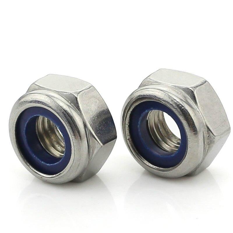 10PCS-M2.5 DIN985 304 нейлоновая гайка из нержавеющей стали