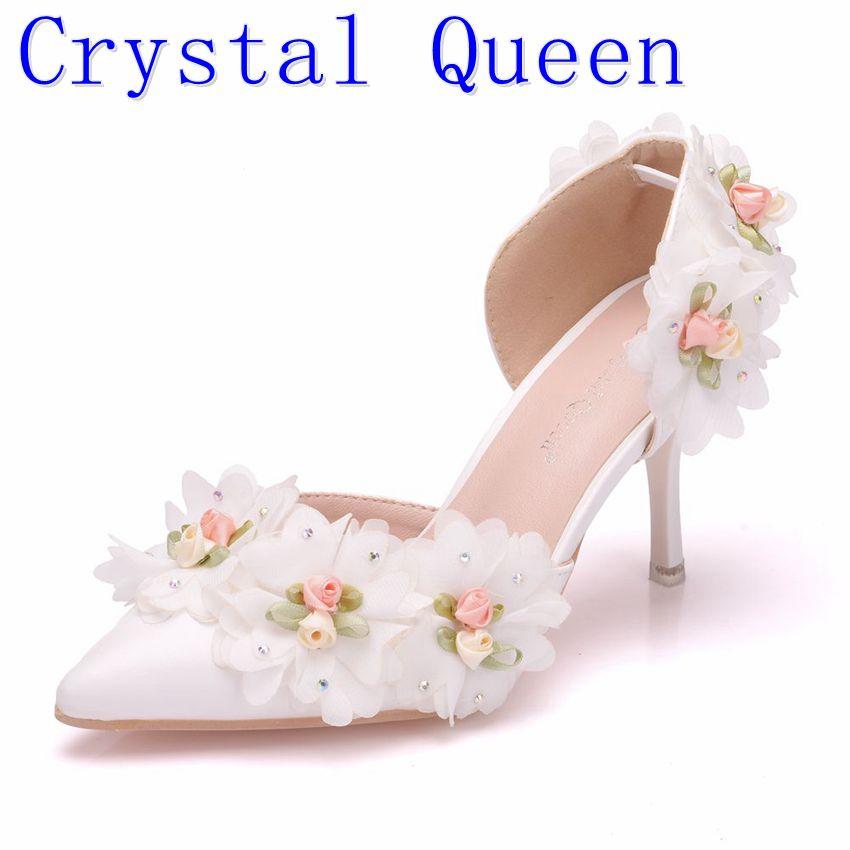Kryształ królowa biały koronki kwiaty ślubne buty buty dla panny młodej 7 CM szpilki kobiety sandały płytkie dla dorosłych Ceremony