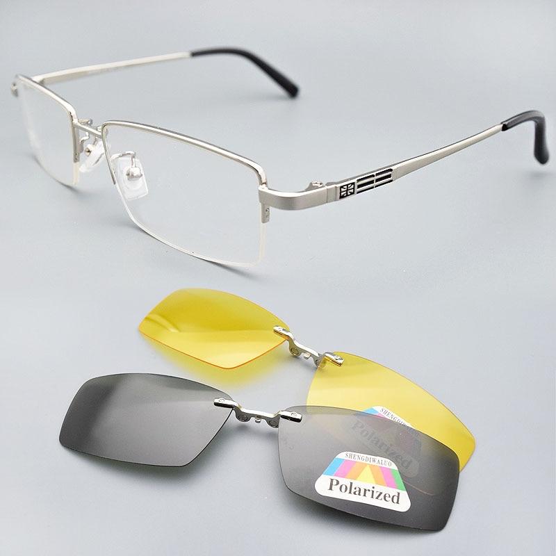 إطار نظارة شمسية مع مشبك مغناطيسي للرجال ، UV400 ، رؤية ليلية مستقطبة ، مرآة قيادة فضية ، أصفر ، 2 قطعة