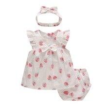 Sommer 2020 Neue Baby Mädchen Kleidung Erdbeere Kleid 3 teil/satz Casual Zitrone Outfit Kinder Prinzessin Baby Mädchen Kleidung Sets Floral