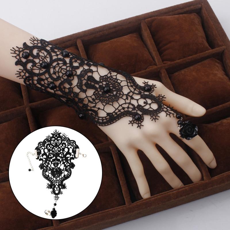 1pc Handmade Bride Bridal Wedding White Flower Rose Lace Ribbon Bracelet & Adjustable Ring Set Slave Glove Wristband