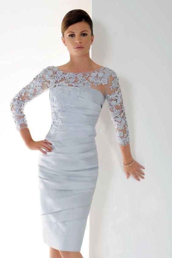 Vestidos para madre de la novia de plata 2019, vestido de novia corto con apliques de manga 3/4 para novio, vestidos para madres para boda