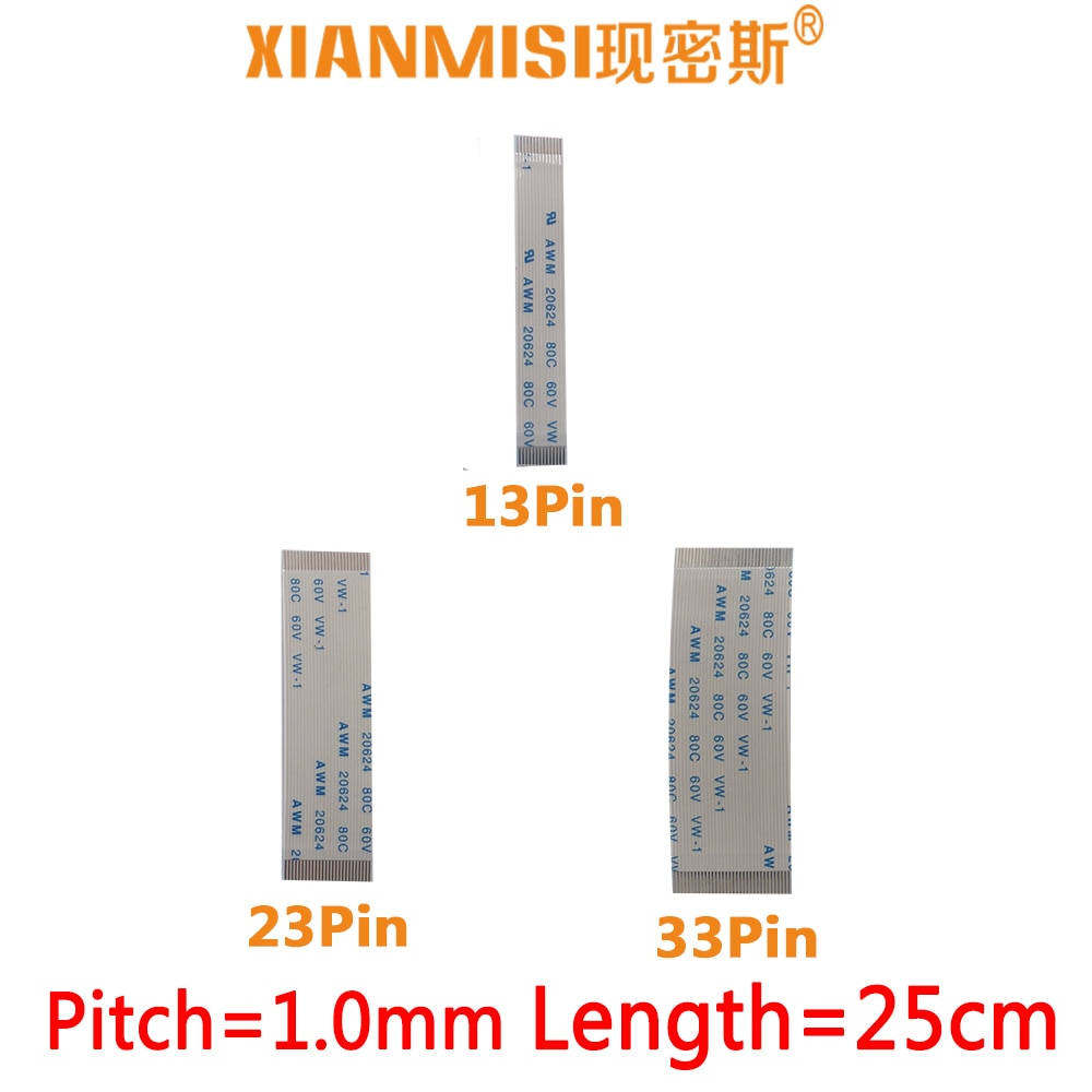 FFC/FPC Flat Flex Extension Cable 13Pin 23Pin 33Pin Same Side 1.0mm Pitch AWM VW-1 20624 20798 60V Length 25cm 5PCS