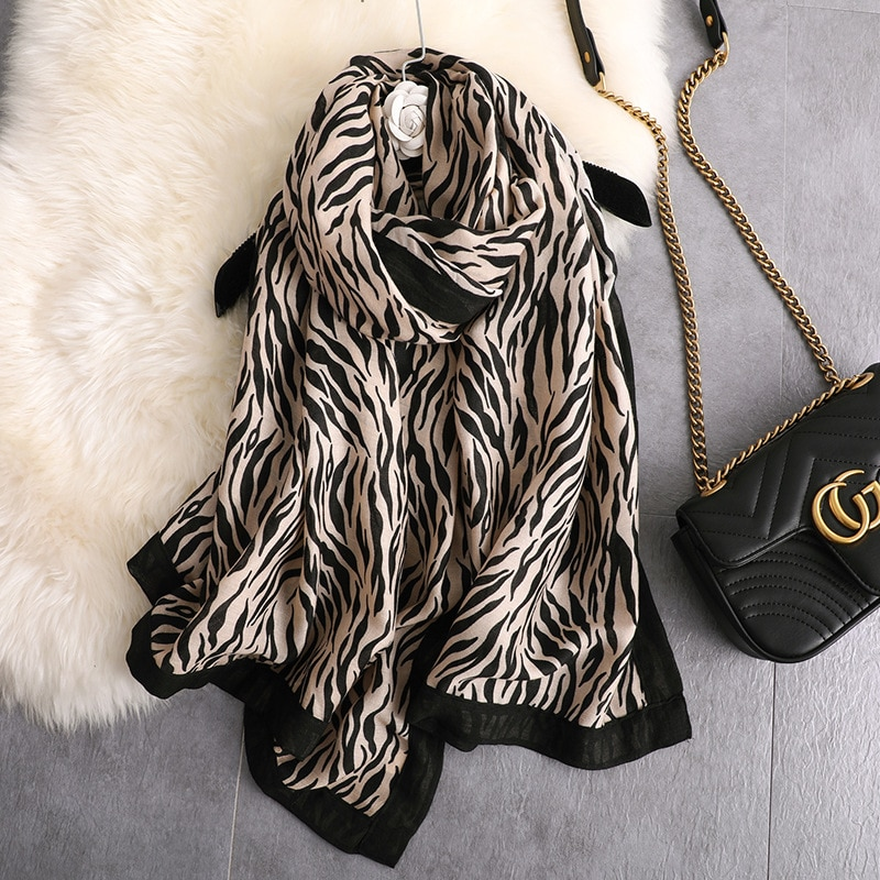 Mujer Otoño Invierno algodón suave señora bufanda larga pashmina cebra bufanda chal