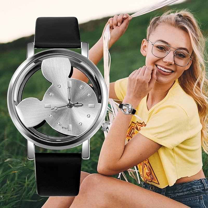 Reloj femenino 2018, relojes de moda de Mickey para mujer, reloj de cuarzo para mujer, reloj casual transparente con esfera hueca, cuero para niños