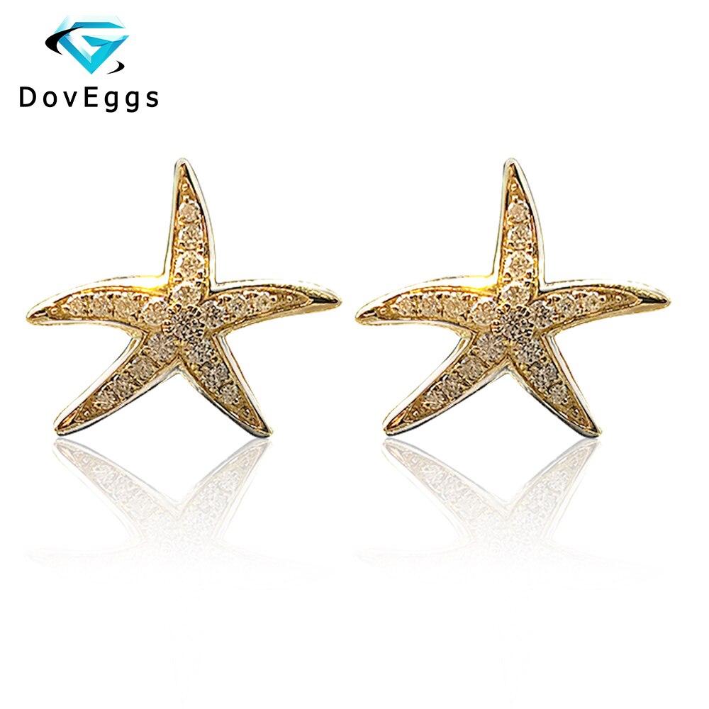 DovEggs en forma de estrella de mar, pendientes de tuerca finos 18K 750, oro amarillo, brillante, moissanita, Diamante de imitación, Push Back para mujeres