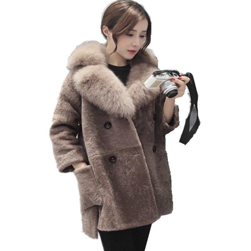 U-SWEAR Latest Winter Female Sheepskin Coats High Quality Faux Fur Pure Color Fox Collars  Double-breasted Furs Big Yards Slim