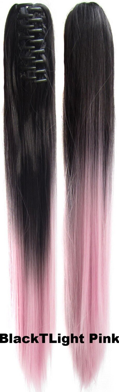"""Plastic claw ponytail straight ombre two tone hairpieces synthetic hair extension Jaw 12 colours available 22"""",170g 1pc"""