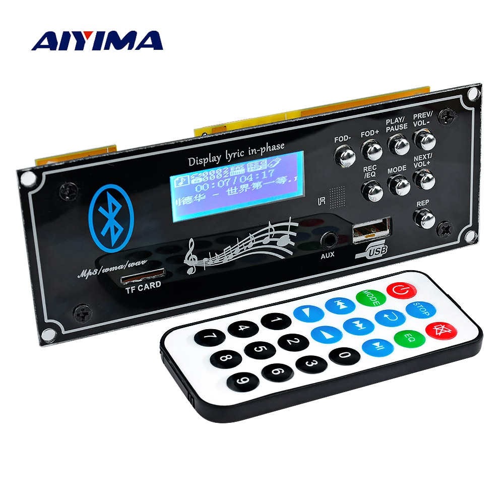 aiyima 12v lcd bluetooth mp3 decoder board wav wma decoding mp3 player audio module support fm radio aux usb with lyrics display AIYIMA 2.1 Bluetooth Car Decoder Board MP3 Player Decoding Module With USB Aux DIY For Amplifiers Board Home Theater