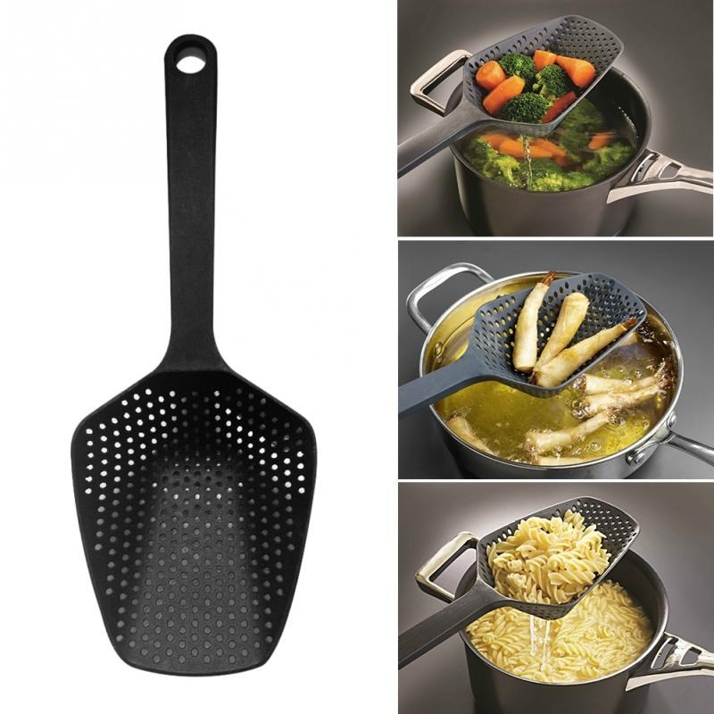 1 Piece Large Nylon Strainer Scoop Colander Kitchen Accessories Gadgets Drain Veggies Water Scoop Gadget Cooking Tools Black