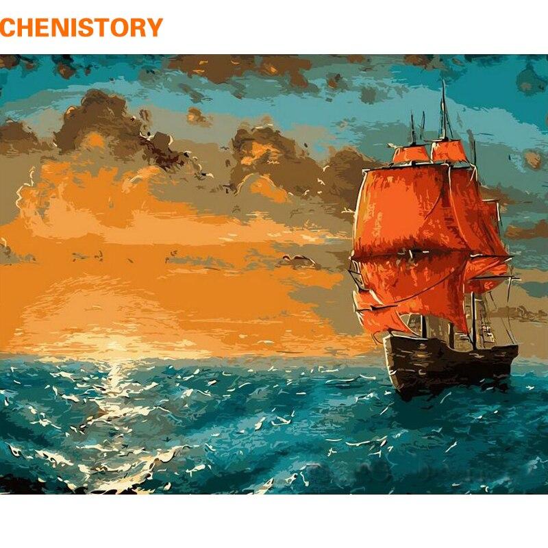 CHENISTORY Sunrise Sea Boat DIY живопись по номерам набор Краска на холсте живопись каллиграфия пейзаж Прямая поставка домашний декор