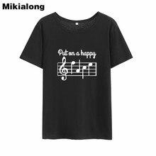 Mikialong mettre une bonne musique graphique t-shirt Femme 2018 noir blanc coton femmes t-shirt ample col rond t-shirt haut pour Femme