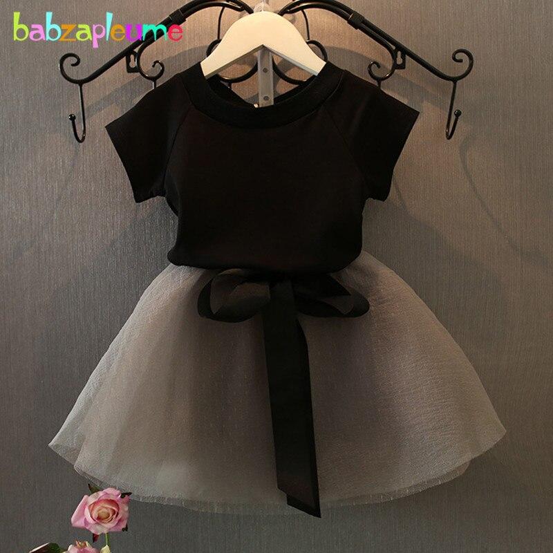 Babzapleume, conjuntos de ropa de Boutique de verano para niñas, camiseta negra + falda gris, ropa coreana para niños, 2 uds., trajes BC1302
