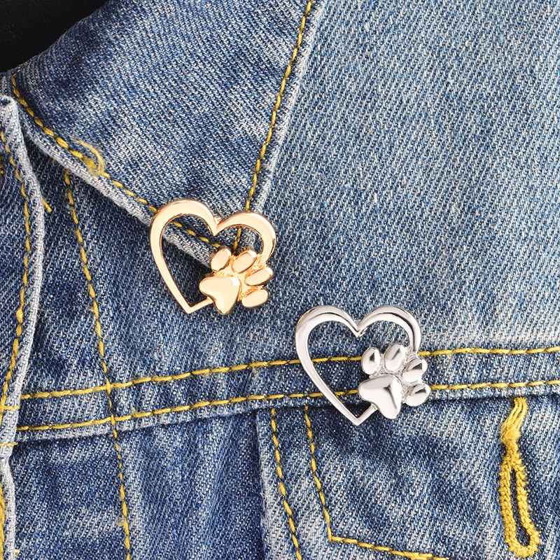 Miss Zoe Paw in heart Brooch Dog paws Cat Kitten claw Pins Custom Sweater Pin Badge Gift Jewelry for Women Girl Kids