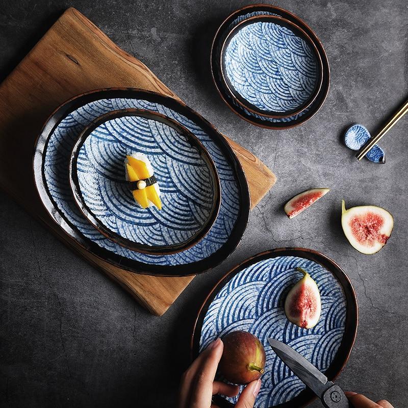 NIMITIME estilo japonés bajo vidriado de desayuno cerámica plato de Sushi Cuisine de frutas plato placa vajilla