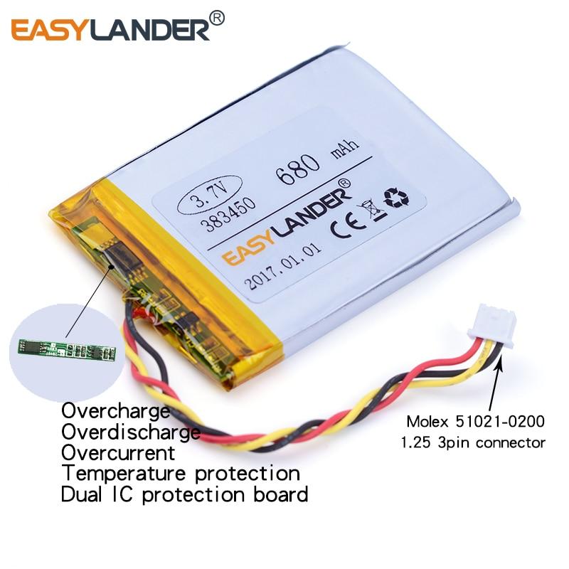 3-fio 383450 3.7v 680mah li-polímero li-ion bateria para o gravador de tráfego parte eletrônica diy streamer segurança gps mp4 mp3 dvr