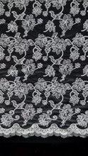 Tissu brodé en dentelle et cordon festonné   Pour robe de mariée, garniture en dentelle de voile, 2015