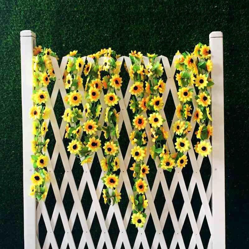 Guirlande faux tournesol jaune artificiel de 2m   Fleurs en soie pour arc de mariage, fleurs décoratives pour Gazebo, fleurs décoratives pour fête de mariage