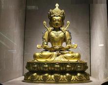 Tibet Boeddhisme Fane 100% Pure Bronze 24K Gold Amitayus Boeddha Kwan-Yin Standbeeld