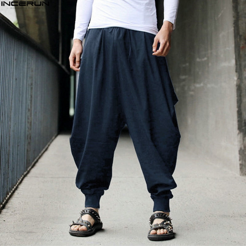 INCERUN 2020 algodón Harem pantalones hombres japoneses sueltos Joggers Mans Cross-Pants entrepierna Pantalones anchos de pierna ancha hombres
