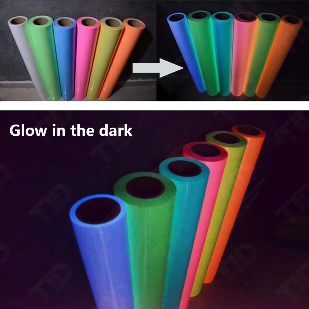 "50x30cm/20""x12"" Glow in Dark Heat Transfer Vinyl Sheets Glossy Iron on HTV Viny Adhesive Glowing Craft Film Paper"