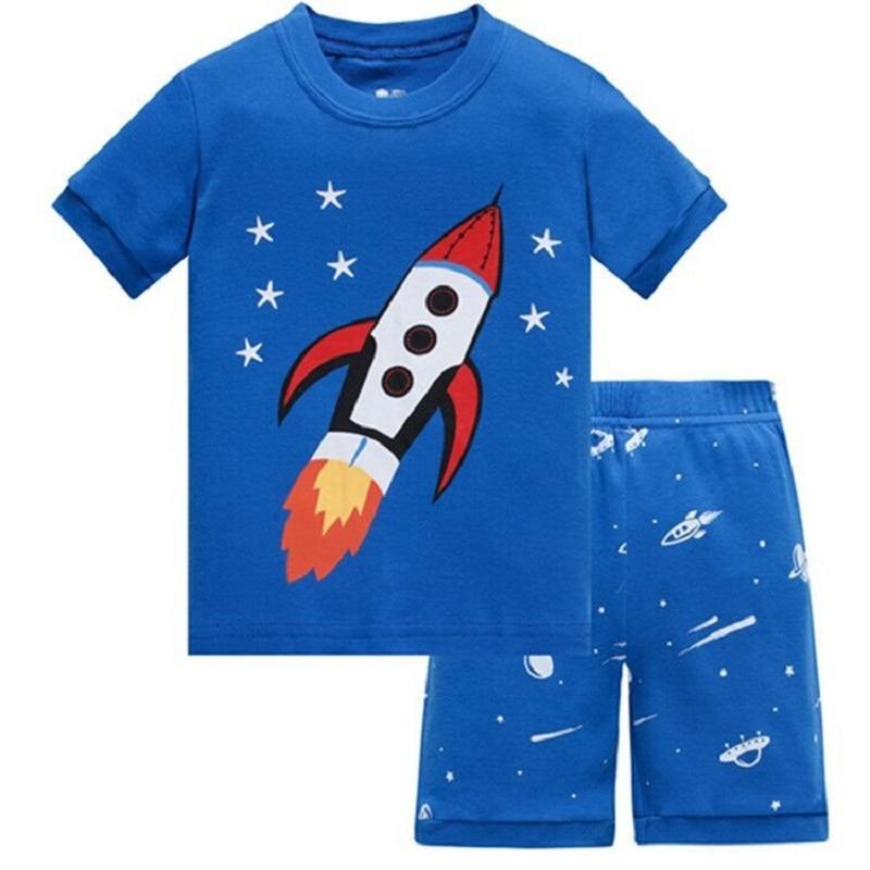 Blue Rocket Baby Boy Pajamas Clothes Sets 100% Cotton Cartoon Kids Home Wear 2 3 4 5 6 7 Year Children Tee Shirts Shorts