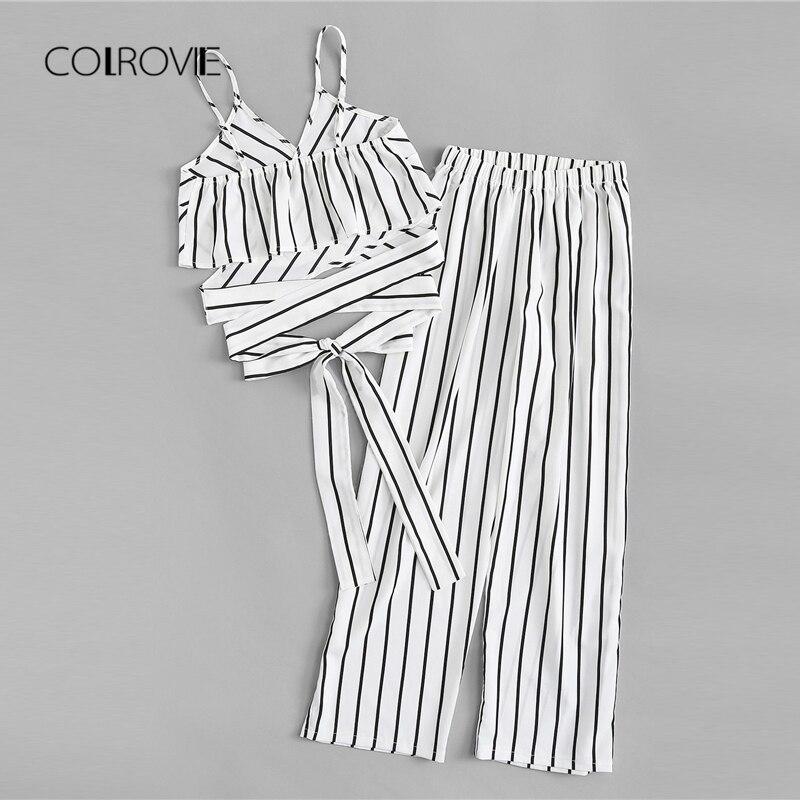 Conjunto de ropa blanca sexi a rayas de COLROVIE, conjunto de dos piezas con tirantes finos y nudo, conjunto nuevo de moda de 2018 para mujer, conjunto de verano sin mangas
