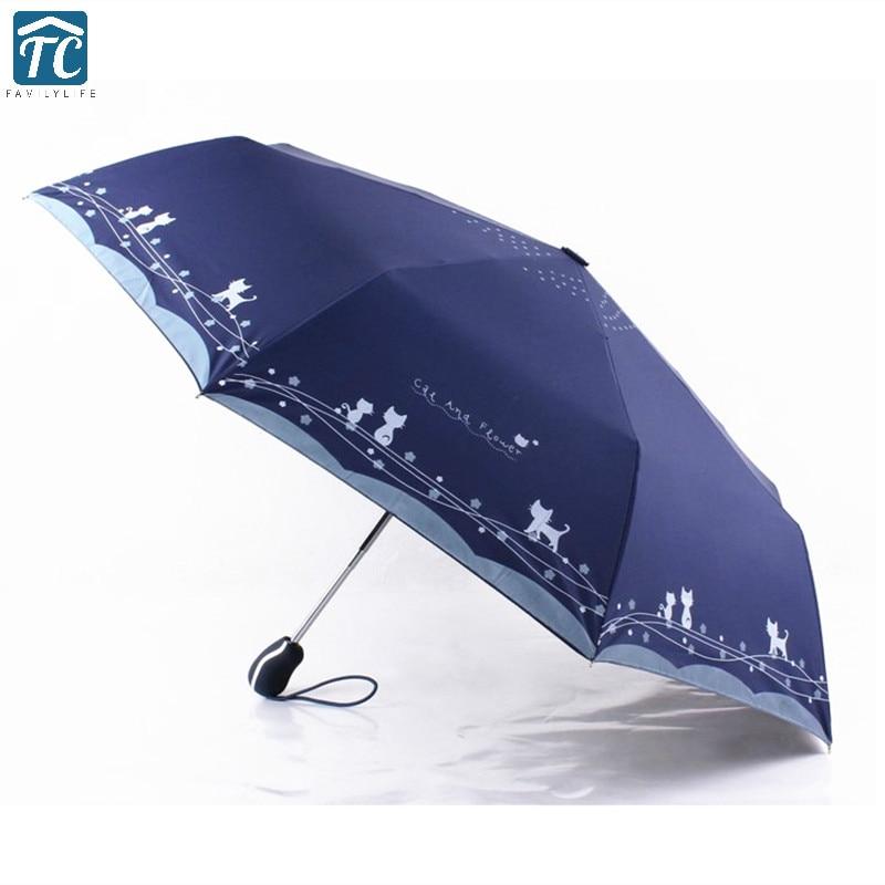 A prueba de viento lindo gato automática sol paragüas parasol Para mujer...