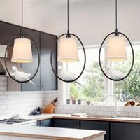 Modern white cloth lampshade bird Pendant Lights creative Art novelty Indoor birdcage Hanging lighting pendant lamp fixture