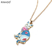 Animal Fashion Jewelry For Women Girs Accessories Cat Necklace Pendant Chain Enamel Pendants