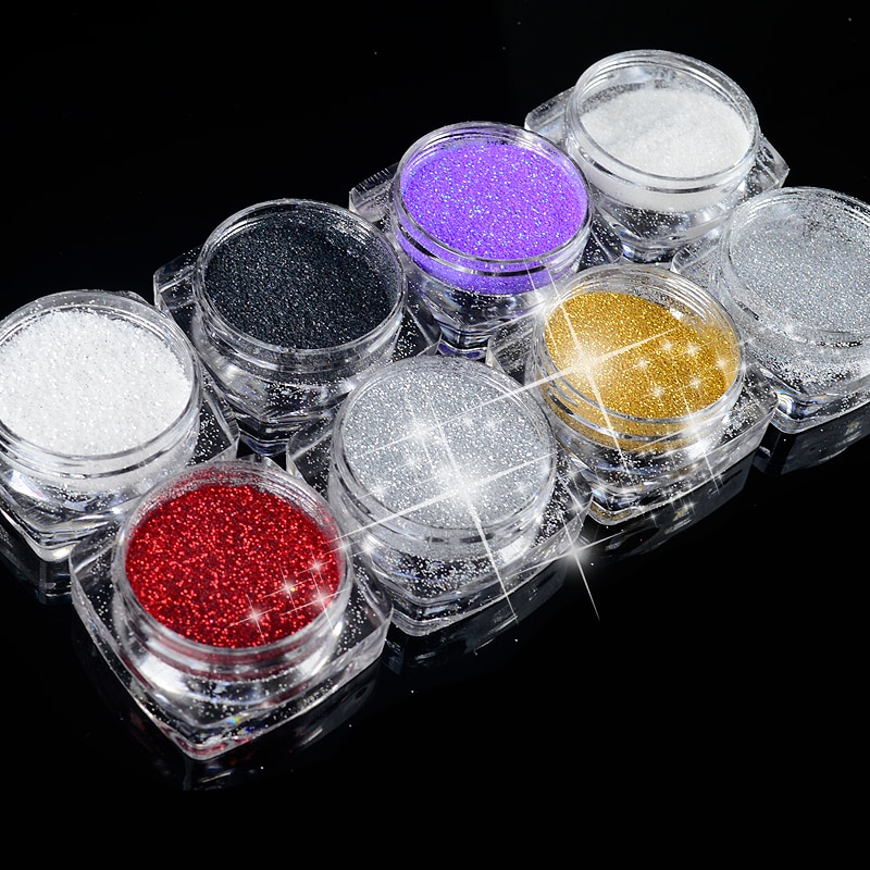 2g/Box 8 colors Holographic Nail Glitter Powder Shining Sugar Nail Glitter Dust Powder Nail Art Decorations Set 0 2mm holographic glitter powder shining sugar nail glitter dust chrome powder nail art decorations 26 colors 10g pack