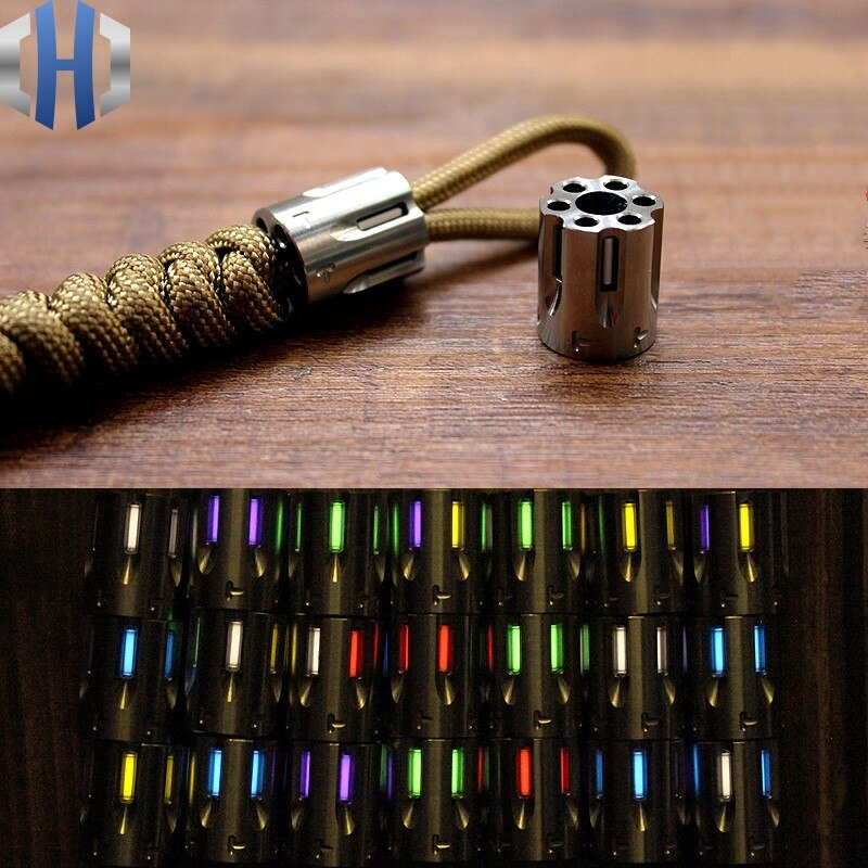 Titanium Alloy Knife Beads Paracord Can Fits Six Tritium Gas Tube Knife Lanyard Rope Outdoor Gadget