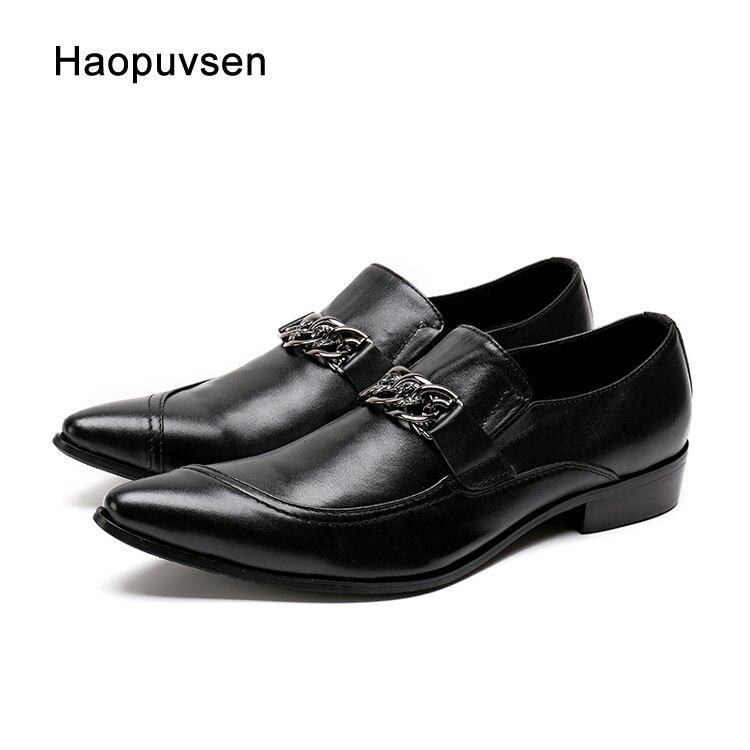 2018 hecho a mano dedo del pie de plata de Metal nuevas de cuero hombres zapatos de vestir Zapatos de fiesta de noche, zapatos de boda, zapatos peluquería cadena sexy zapatos