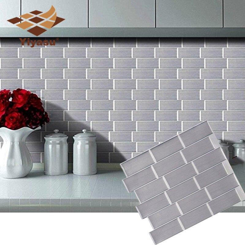 Azulejo autoadhesivo Silver Subway Peel and Stick Backsplash Adhesivo de pared de ladrillo vinilo baño cocina decoración del hogar DIY