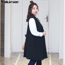 Fashion Pockets Long Blazer Vest Women Autumn Waistcoat Turn-down Collar Sleeveless Jacket Elegant O
