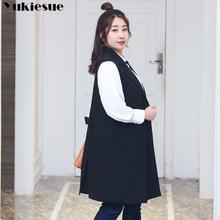 Fashion Pockets Long Blazer Vest Women Autumn Waistcoat Turn-down Collar Sleeveless Jacket Elegant O