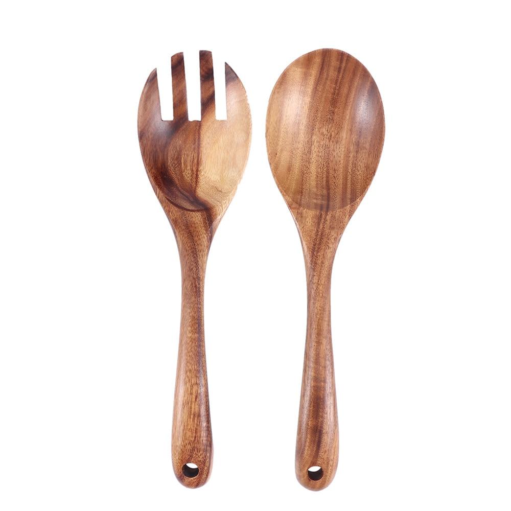 Natural Kitchen Wooden Spoon Large Salad Dinner Serving Spoons Server Wood Fork Spoon Cutlery Wooden Utensils 1Pcs