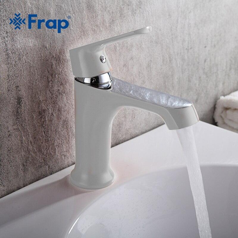 FRAP-صنبور حوض حمام أبيض ، مثبت نحاسي ، صنبور حوض حمام ملون ، خلاط مياه F1031/1032/1033