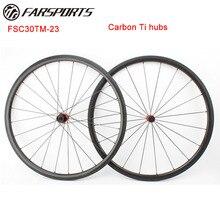 Roues de vélo Farsports 700C carbone Ti moyeux, super léger 1078 g/ensemble 30mm x 23mm roues tubulaires de vélo de route, rayons aéro Sapim