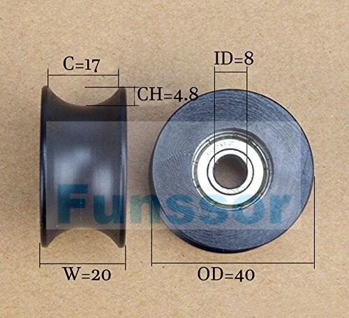 Qulaity 608zz recubierto pa66 nylon 1,57 pulgadas rueda de rodillo de rodamiento 8x40x20mm tipo U polea de ranura para máquina CNC DIY, impresora 3d