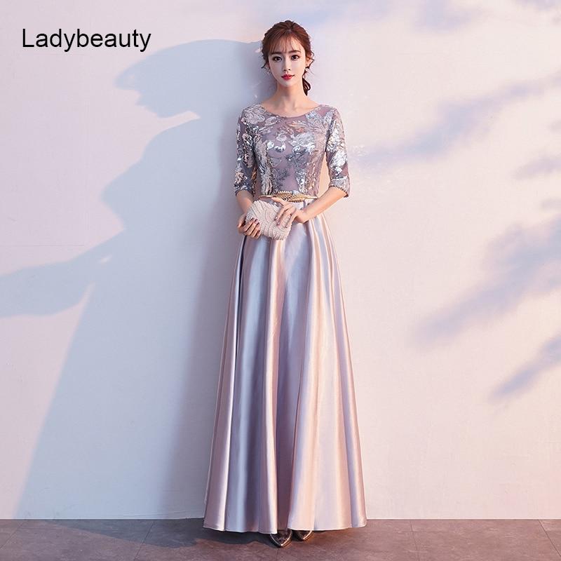 Ladybeauty-فستان سهرة مزين بالترتر ، فستان سهرة طويل ، نصف كم ، 2021
