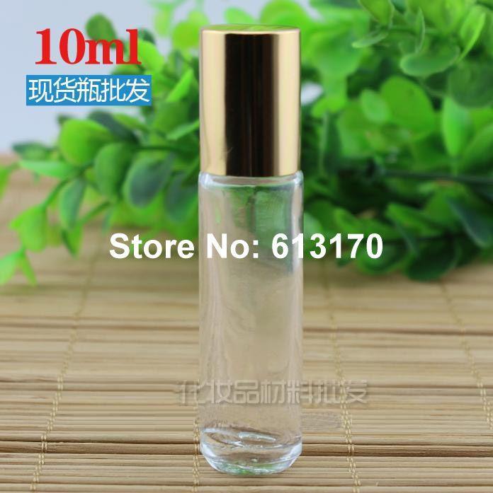 Frasco contenedor de vidrio con acero 50 Uds 10ml dorado transparente rollo rellenable vacío en viales de rodillo de darkis muestra portátil