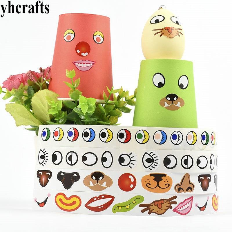 1 rouleau (1000 pièces)/LOT, nez autocollants en papier rouleau artisanat matériel oeil nez bouche autocollants outils de bricolage enfants bricolage jouets articles dactivité