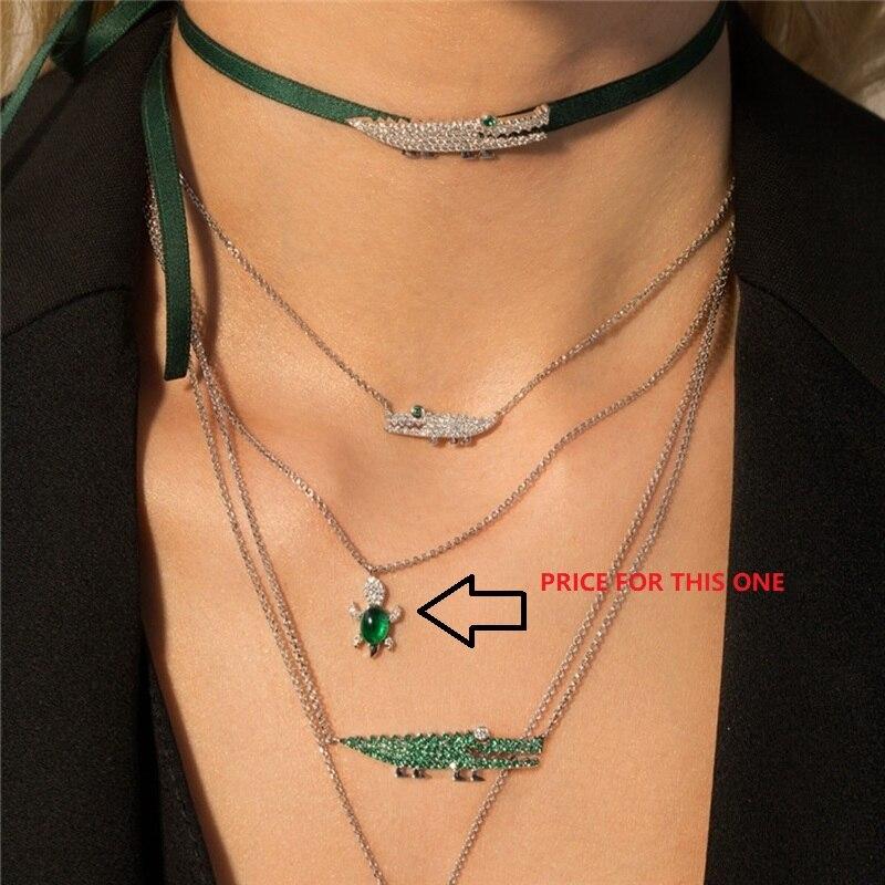 ¡Oferta! Collar de plata de ley 925 con forma de tortuga de circonita, Collar de animales, Color menta caramelo verde, circonita, Tortuga, joyería de mujer para Bodas de Mónaco