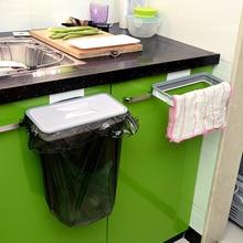White Kitchen Cabinet Hanging Trash Rack Door Back Trash Rack Storage Garbage Bag Holder Hanging